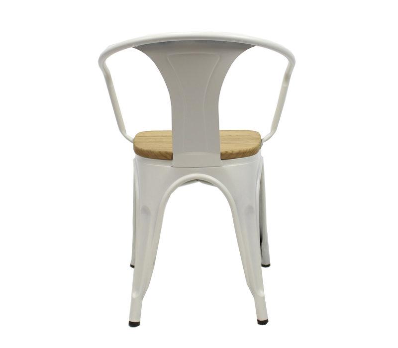 Industriële retro stoel met arm Blade hout wit