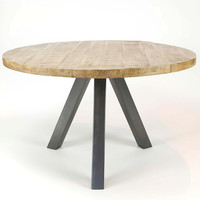Tafel Rond 120.Industriele Tafel Rond Vancouver O120 Massief Driepoot