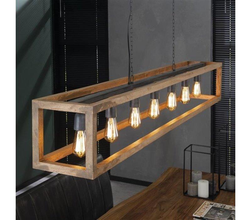 Industriële Hanglamp Lucas Wood 7 Lampen
