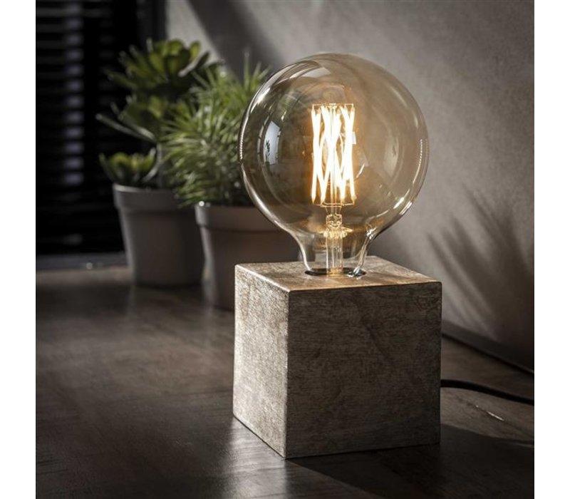 Industriele tafellamp Blok - Antiek Nikkel
