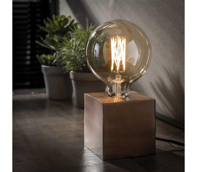 Industriele tafellamp Blok - Antiek koper finish