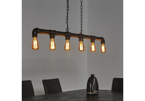 Industriele hanglamp zwart  6 lichts