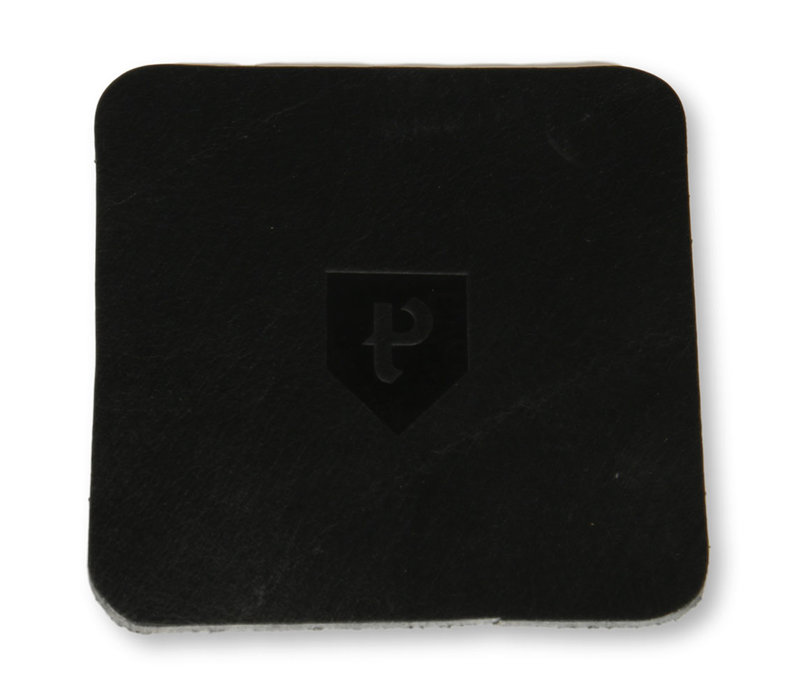 Leren onderzetters Pearson 6 stuks vierkant zwart