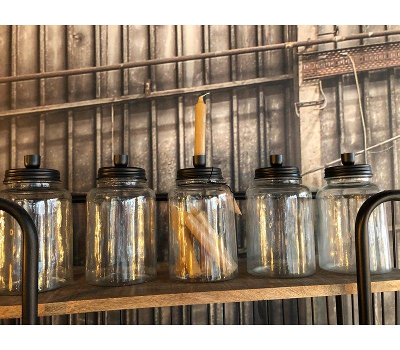 Glazen pot met kaarsenstandaard