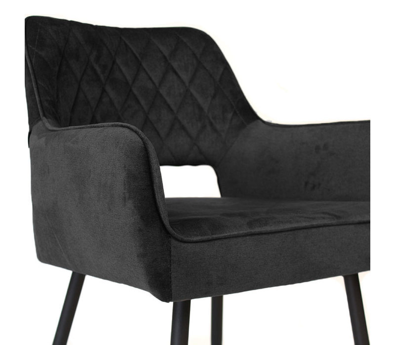 Moderne eetkamerstoel Mika luxury velvet zwart