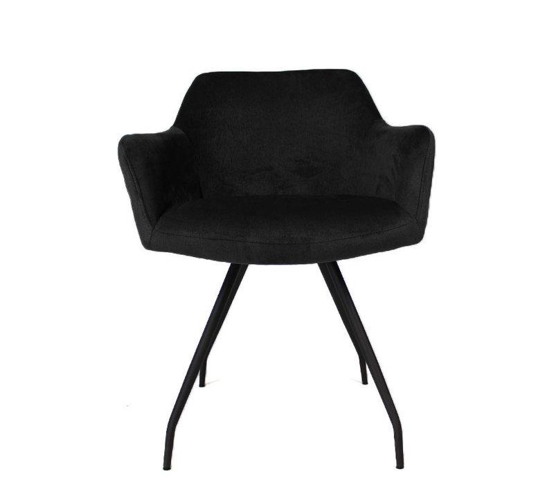 Moderne eetkamerstoel Nelly luxury velvet zwart
