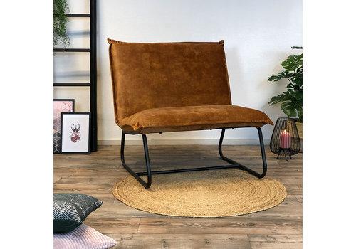 Bronx71 Moderne fauteuil Boris velvet Luxury okergeel/cognac bruin