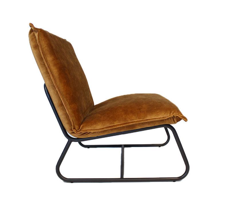 Moderne fauteuil Boris velvet Luxury okergeel/cognac bruin
