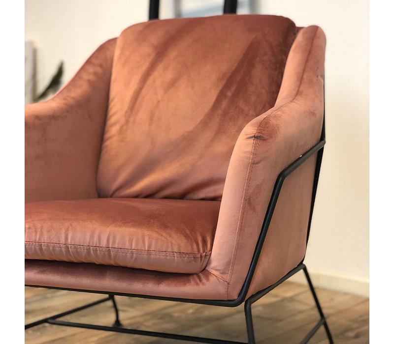 Moderne fauteuil Stella Velvet rose