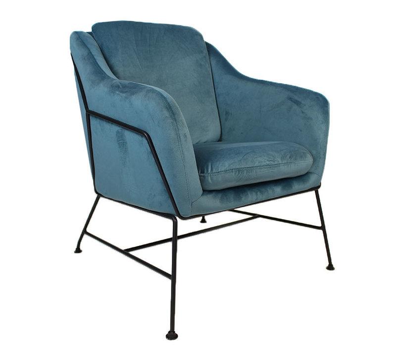 Moderne fauteuil Stella Velvet blauw