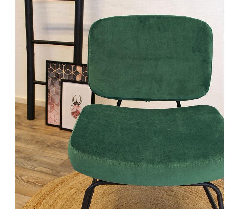 Moderne fauteuil Elena Velvet groen