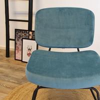 Moderne fauteuil Elena Velvet blauw