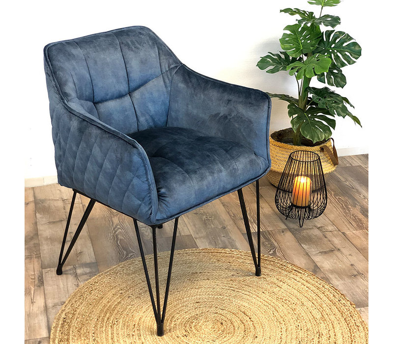 Moderne velvet eetkamerstoel Jaxon blauw
