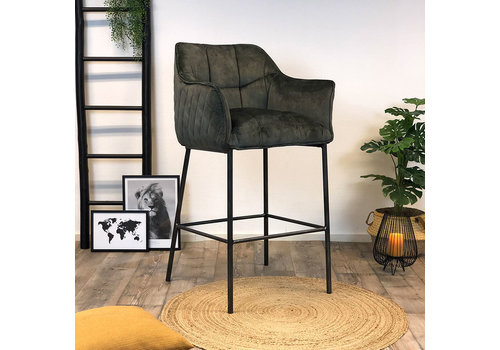 Bronx71 Moderne velvet barkruk Jaxon groen 82 cm