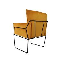Moderne velvet fauteuil Lasse oker geel