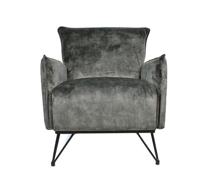 Moderne fauteuil Mika luxury velvet grijs