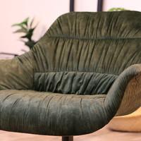Moderne velvet fauteuil Lizzy donkergroen