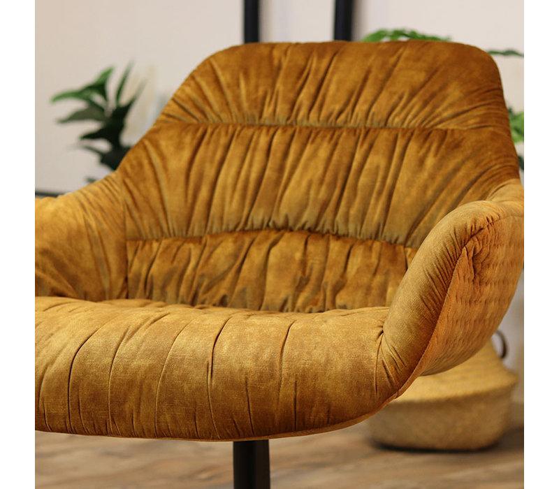 Moderne velvet fauteuil Lizzy okergeel
