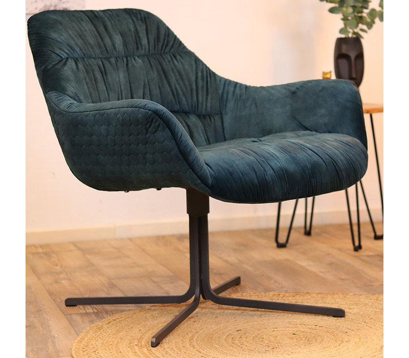 Moderne velvet fauteuil Lizzy donkerblauw