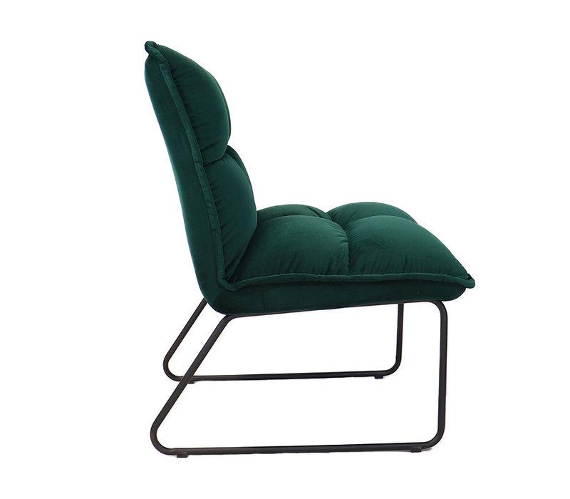 Moderne velvet fauteuil Malaga donkergroen