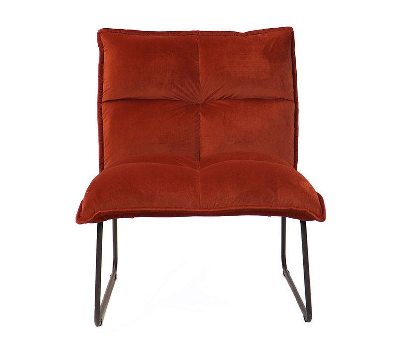 Moderne velvet fauteuil Malaga koper