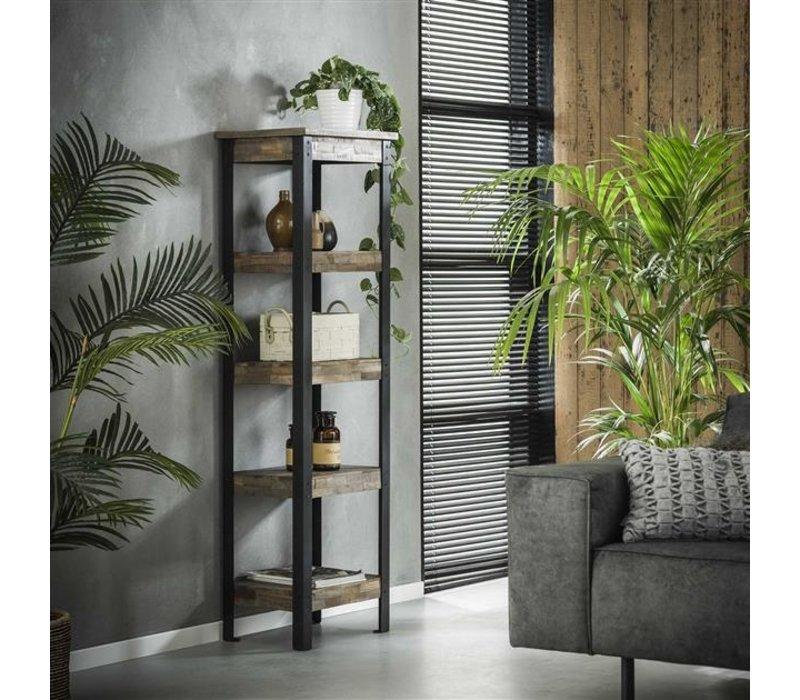 Industrieel wandrek Liv teak hout en metaal 150 cm hoog
