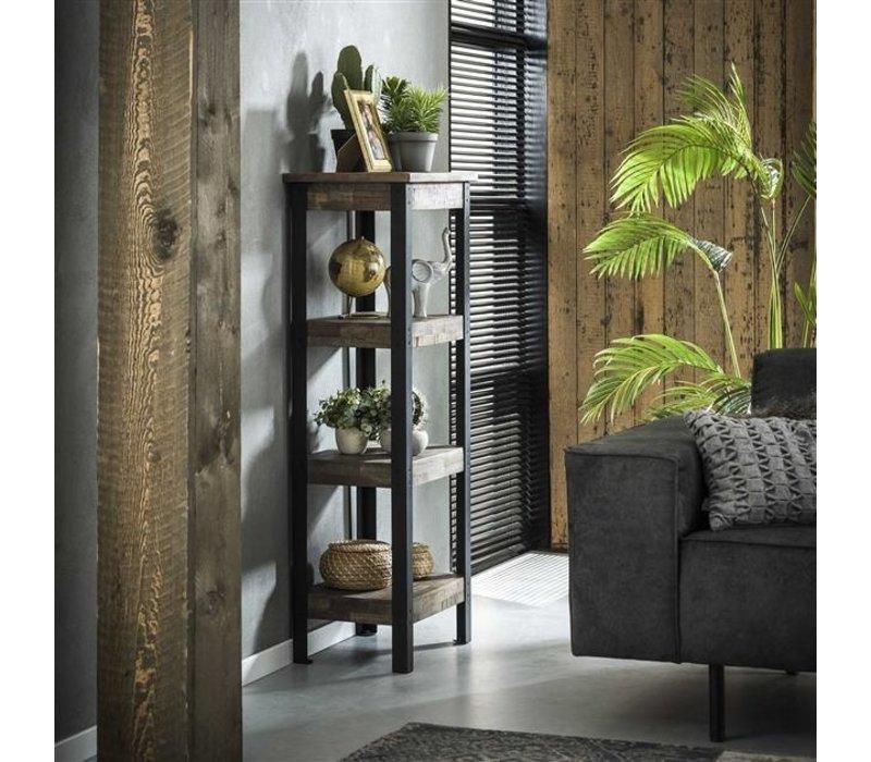 Industrieel wandrek Liv teak hout en metaal 120 cm hoog
