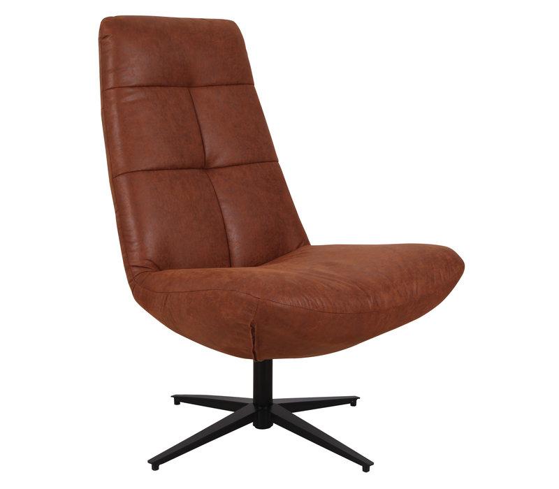 Industriële draaibare fauteuil cognac Dion - eco leer