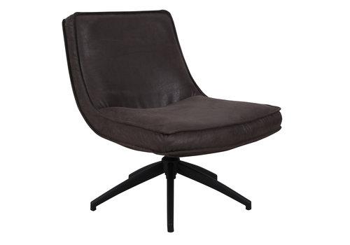 Industriële draaibare fauteuil antraciet Tommy eco leer