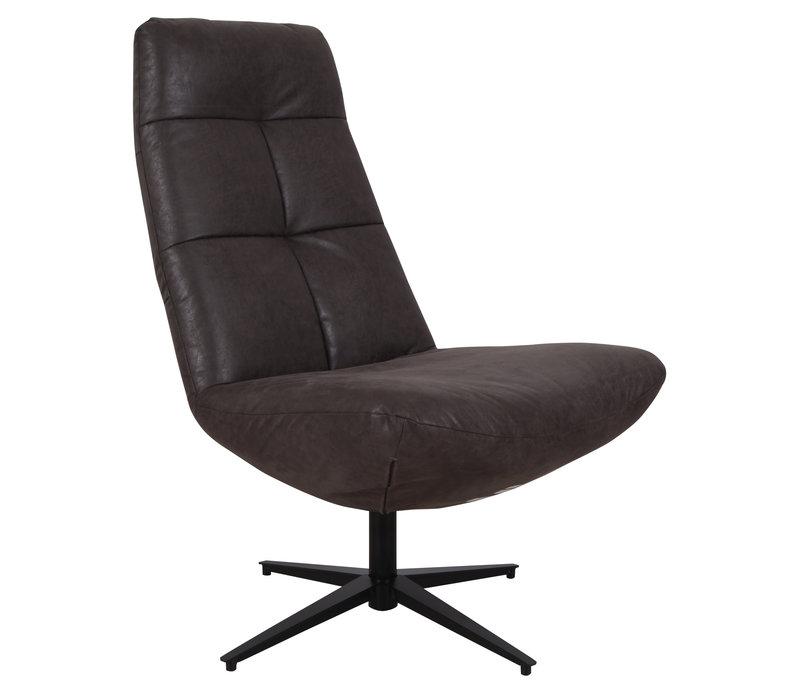 Industriële draaibare fauteuil antraciet Dion - eco leer