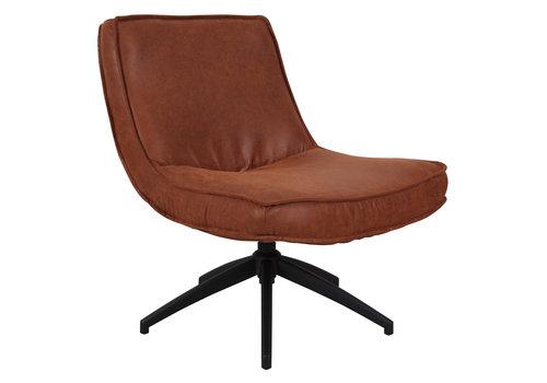 Industriële draaibare fauteuil cognac Tommy eco leer