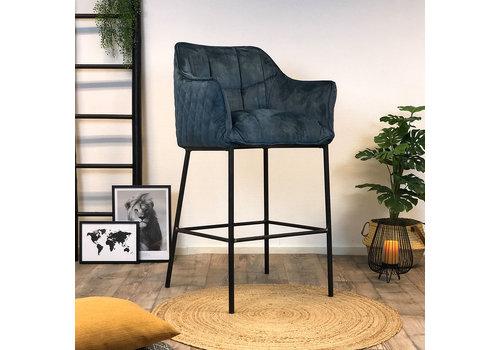 Bronx71 Moderne velvet barkruk Jaxon blauw 82 cm