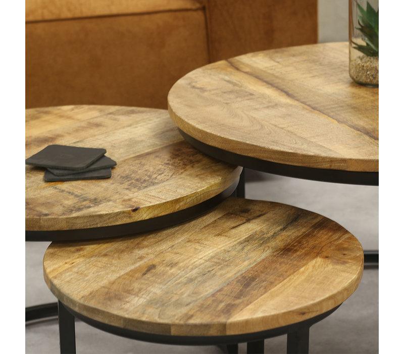 Industriële salontafel set van 3 Cedric