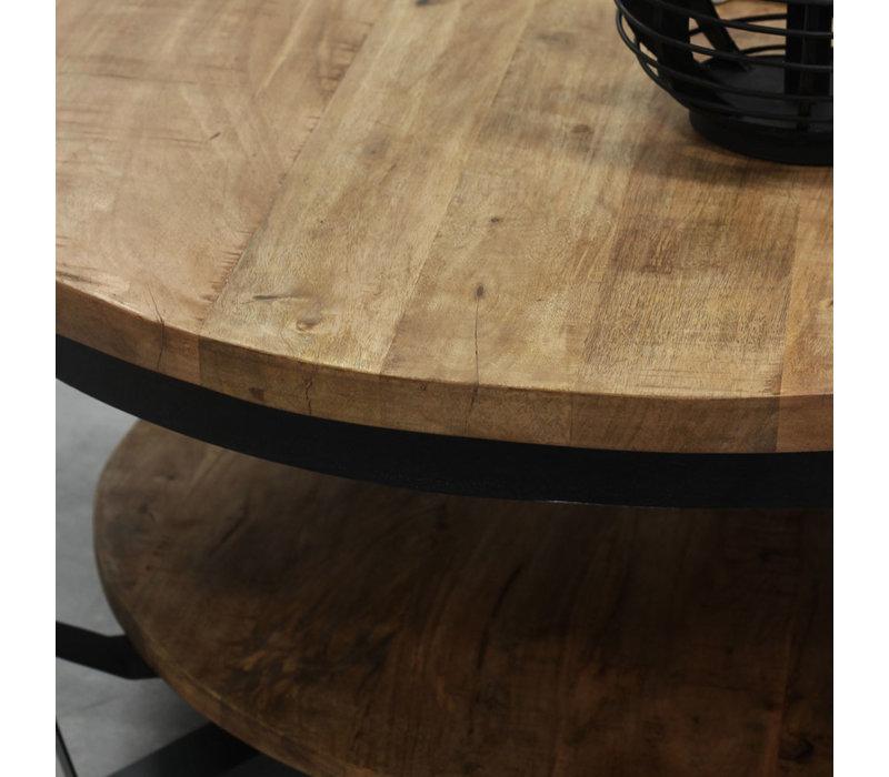 Industriële salontafel Baldo hout  90 cm