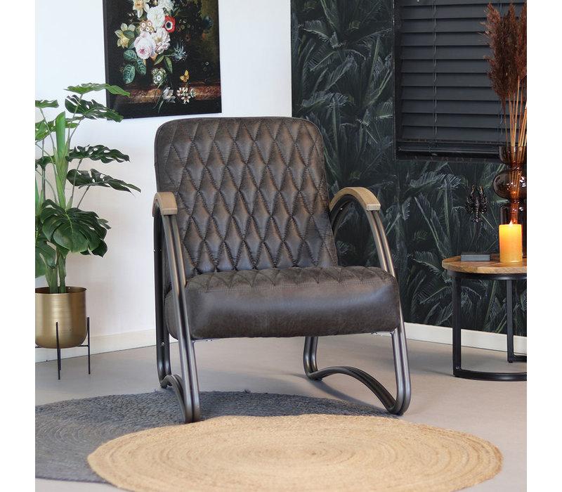 Industriële fauteuil Ivy eco-leer antraciet