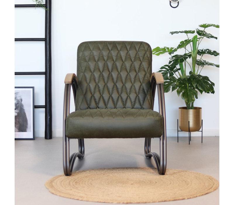 Industriële fauteuil Ivy eco-leer olijfgroen