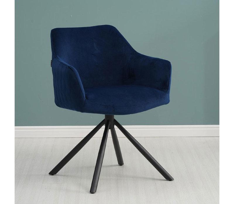 Moderne eetkamerstoel Furtado draaibaar velvet blauw