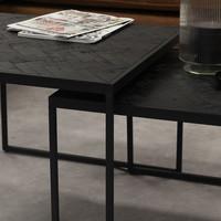 Blackster Salontafel Zwart Industrieel Teakhout Set van 3