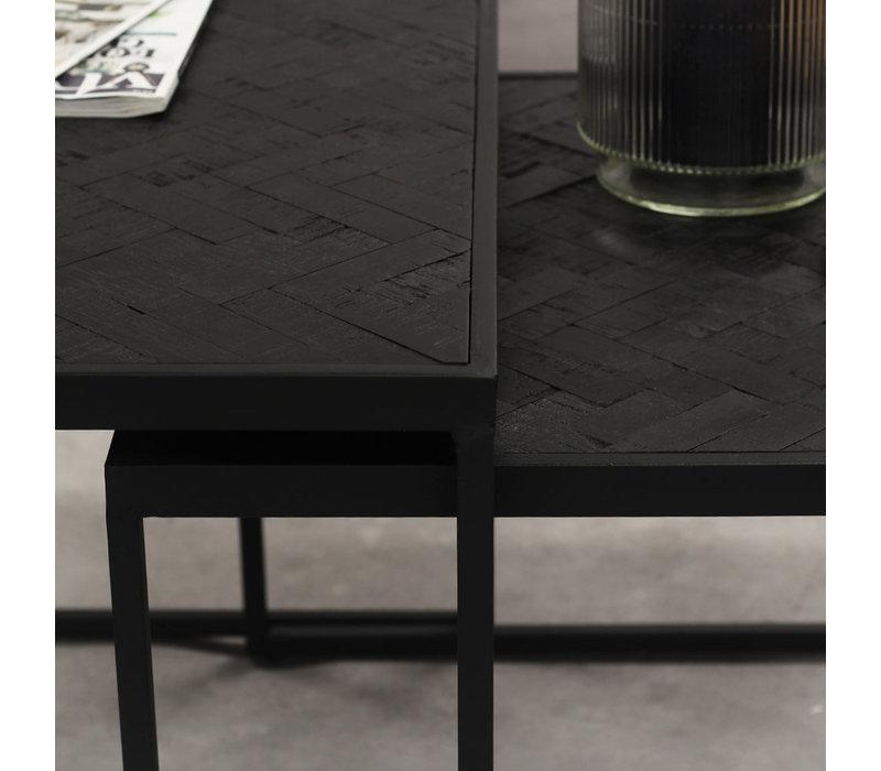 Blackster Koffietafel Zwart Industrieel Teakhout set van 2