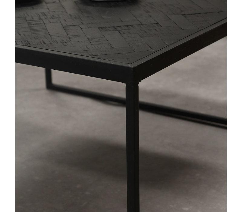 Blackster Salontafel Zwart Industrieel Teakhout 120x60 cm