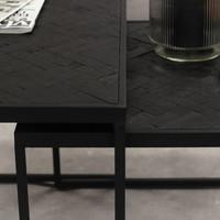 Blackster Bijzettafel Zwart Industrieel Teakhout Set van 3