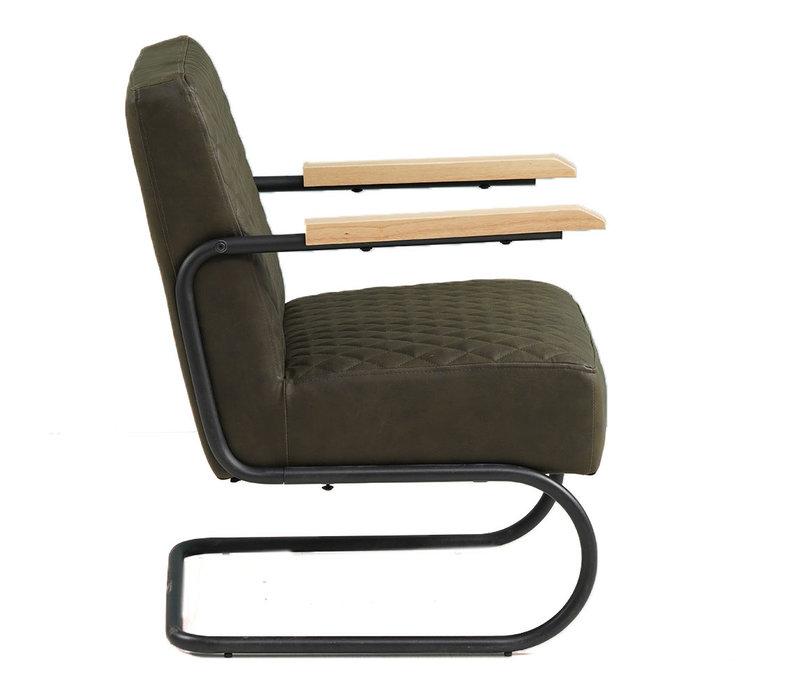 Industriële fauteuil Lars groen