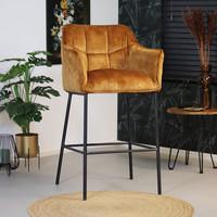 Moderne velvet barkruk Jaxon okergeel 82 cm