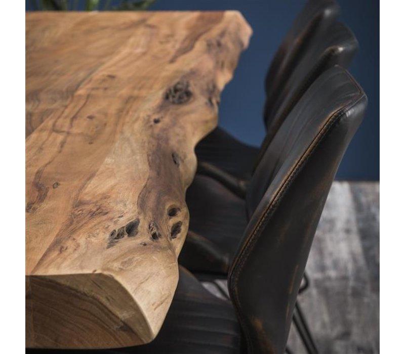 Industriële boomstamtafel acaciahout Eva 200 cm