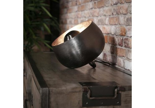Industriële tafellamp zwart nickel Basel 28 cm