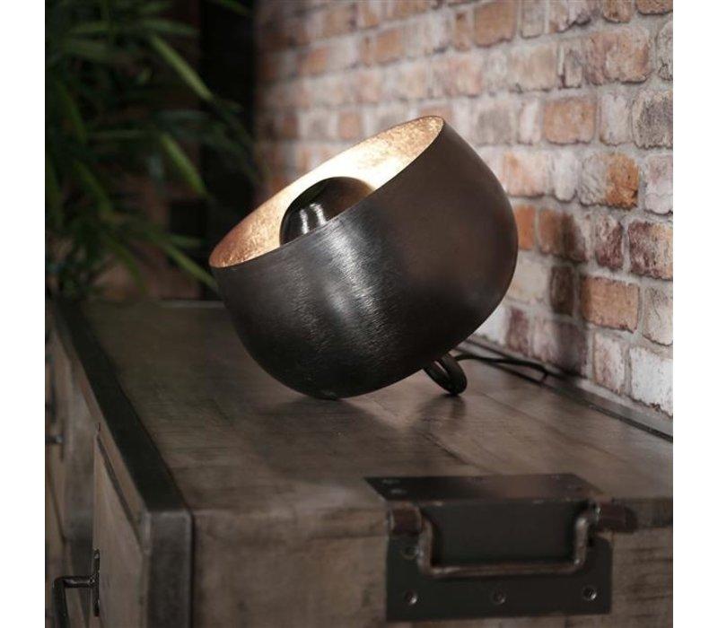 Industriële tafellamp zwart nickel Basel 36 cm