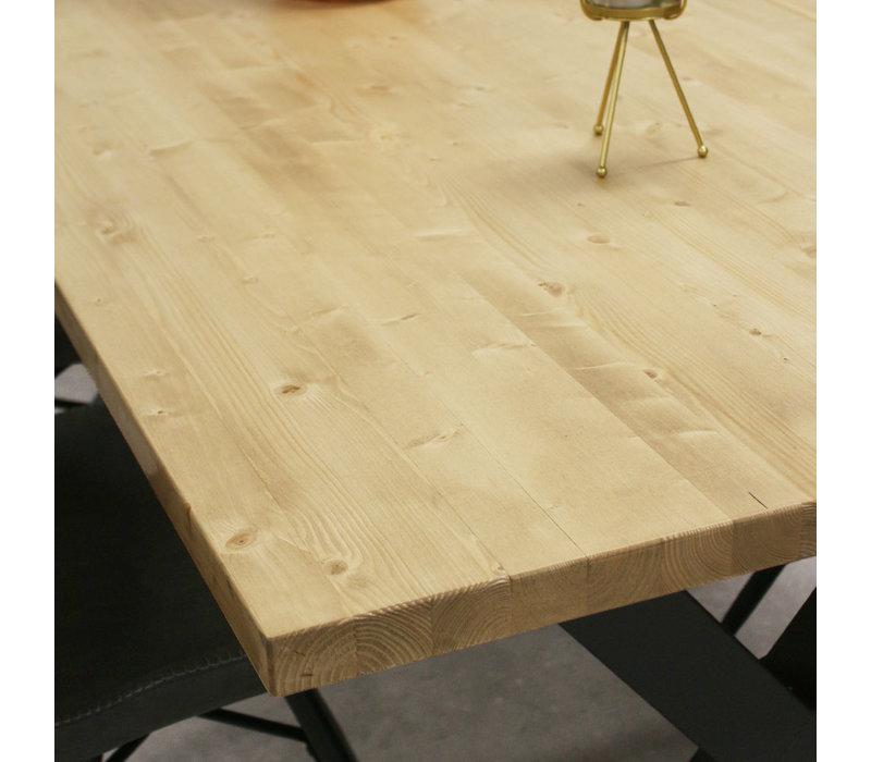 Massief iepenhouten eettafel Daan X poot naturel 160x80 cm