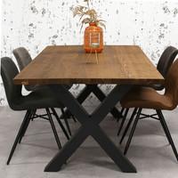 Massief iepenhouten eettafel Daan X poot bruin 200x100cm