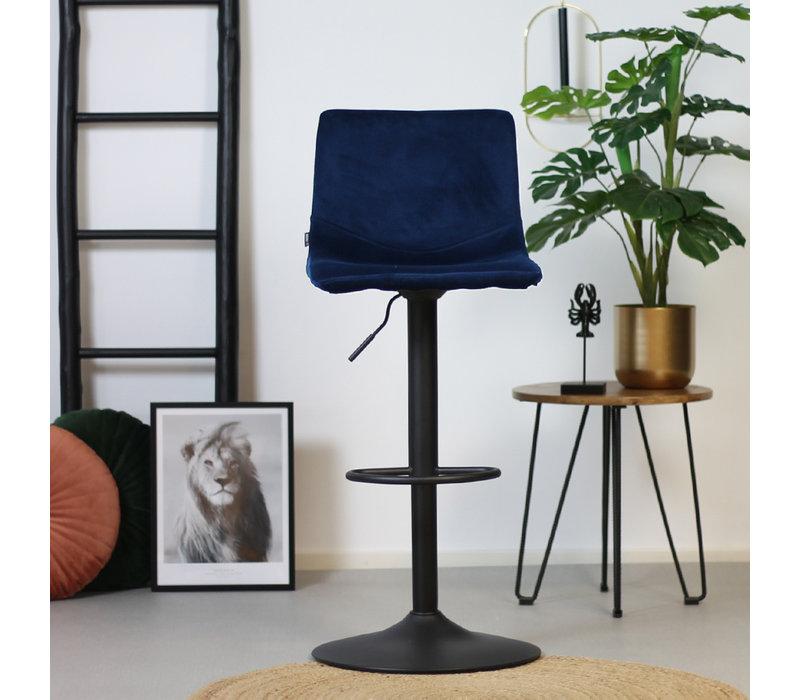 Velvet barkruk Frenkie blauw 59-79 cm