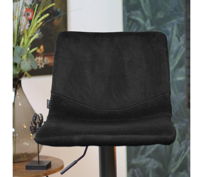 Velvet barkruk Frenkie zwart 59-79 cm